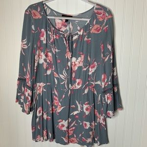 Lane Bryant gray pink floral tunic size 18 20